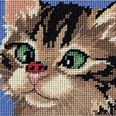 Cross-Eyed Kitty Mini Needlepoint Kit, 5
