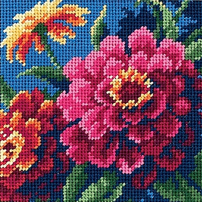 Zinnias Mini Needlepoint Kit, 5