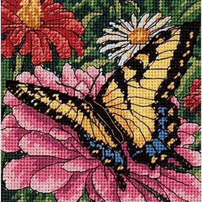 Butterfly On Zinnia Mini Needlepoint Kit, 5