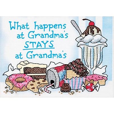 What Happens At Grandma's Mini Stamped Cross Stitch Kit, 7