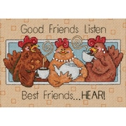 "Good Friends Listen Mini Counted Cross Stitch Kit, 7""X5"" 14 Count"