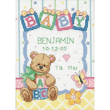 Baby Hugs Baby Blocks Birth Record Counted Cross Stitch Kit, 5