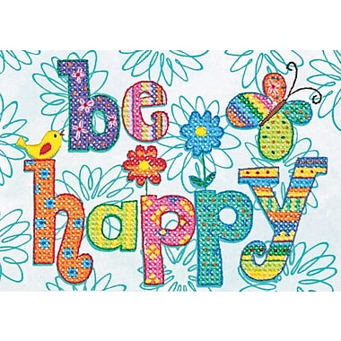 Be Happy Mini Stamped Cross Stitch Kit, 7