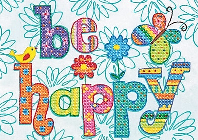 Be Happy Mini Stamped Cross Stitch Kit, 7
