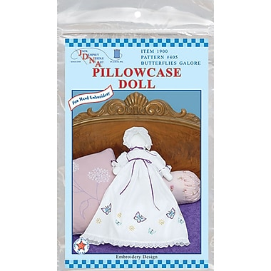 Stamped White Pillowcase Doll Kit, Butterflies Galore