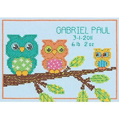 Owl Birth Record Mini Counted Cross Stitch Kit, 7