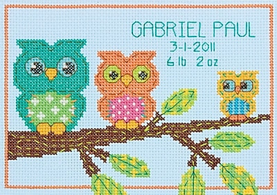 "Owl Birth Record Mini Counted Cross Stitch Kit, 7""X5"" 14 Count"