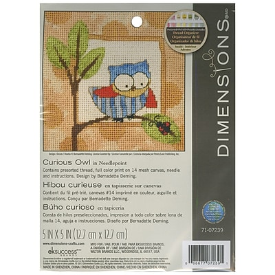 """""Curious Owl Mini Needlepoint Kit, 5""""""""X5"""""""" Stitched In Thread"""""" 32262"