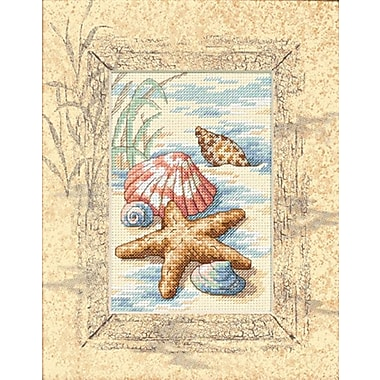 Matted Accents Shells In The Sand Counted Cross Stitch Kit, 8