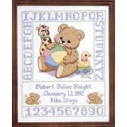 "Bear Birth Sampler Stamped Cross Stitch Kit, 11""X14"""