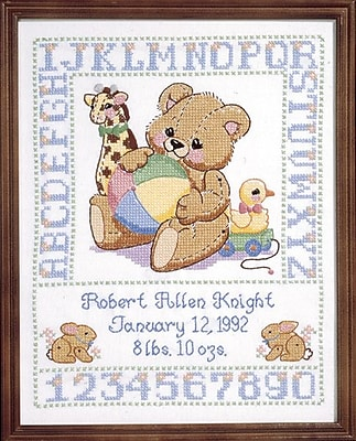 Bear Birth Sampler Stamped Cross Stitch Kit, 11
