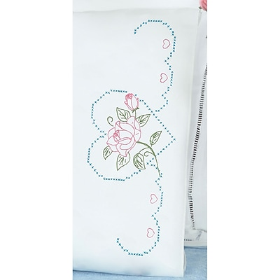 Stamped Pillowcases With White Perle Edge, Rose And Heart