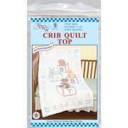 """Stamped White Quilt Crib Top 40""""X60"""""""