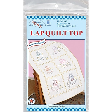 Stamped White Lap Quilt Top 38