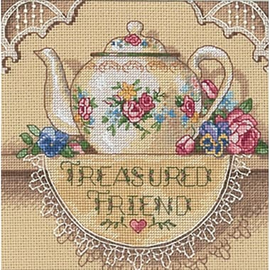 Gold Collection Petite Treasured Friend Teapot Counted Cross Stitch Kit, 6