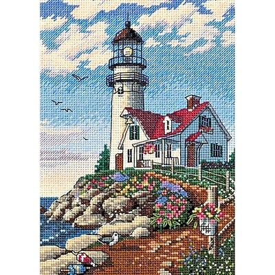 Gold Collection Petite Beacon At Rocky Point Counted Cross Stitch Kit, 5