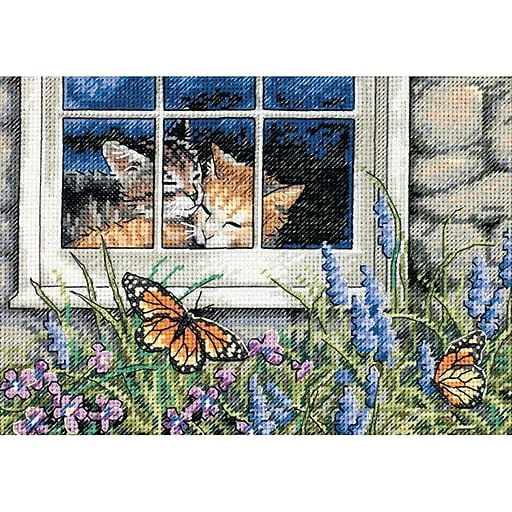 "Gold Collection Petite Feline Love Counted Cross Stitch Kit, 7""X5"" 18 Count"