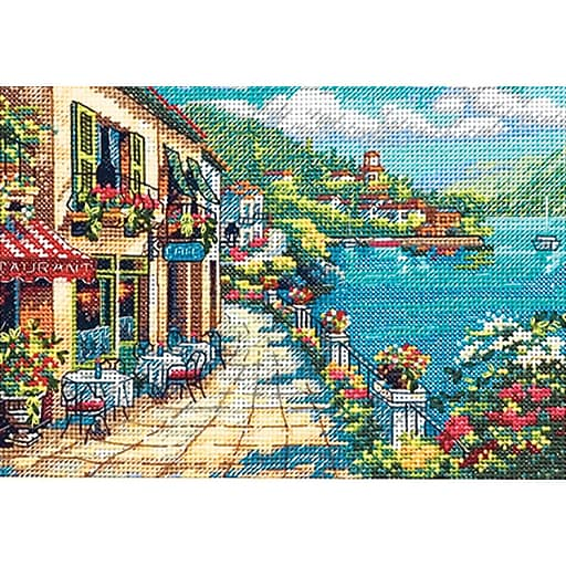 """Gold Collection Petite Overlook Cafe Counted Cross Stitch Kit-7""""X5"""" 18 Count"""