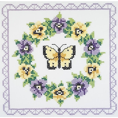Pansy Wreath Quilt Blocks Stamped Cross Stitch , 18
