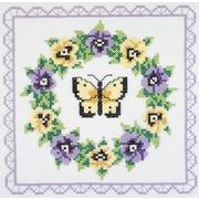 "Pansy Wreath Quilt Blocks Stamped Cross Stitch , 18""X18"" 6/Pkg"