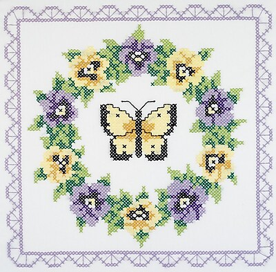Pansy Wreath Quilt Blocks Stamped Cross Stitch , 18
