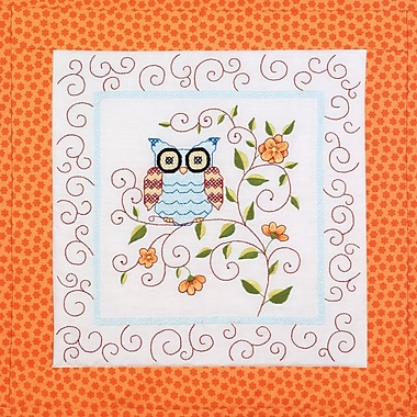 Owl Quilt Blocks Stamped Cross Stitch Kit, 15