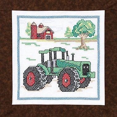 Tractor Quilt Blocks Stamped Cross Stitch Kit, 15
