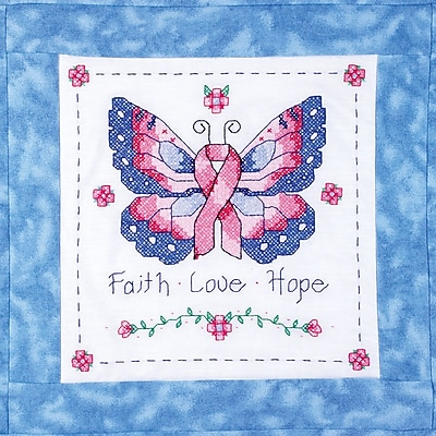 Butterfly Of Hope Quilt Blocks Stamped Cross Stitch Kit, 15