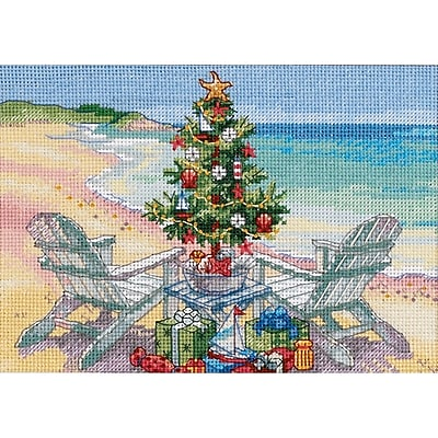 Gold Collection Petite Christmas On The Beach Counted Cross -7