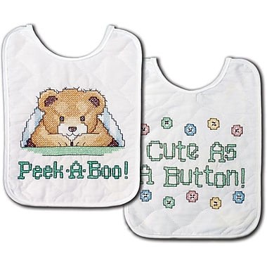Under The Covers Bib Pair Stamped Cross Stitch Kit, 8