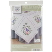 """Stamped White Quilt Blocks 18""""X18"""", Butterfly Heart"""