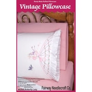 """Stamped Lace Edge Pillowcase 30""""X20"""", Butterfly Lady"""