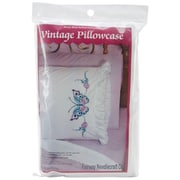 """Stamped Lace Edge Pillowcase 30""""X20"""", Large Butterfly"""