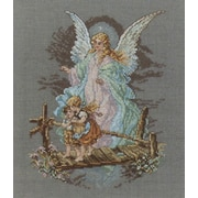 """Guardian Angel Counted Cross Stitch Kit, 7-1/2""""X9-7/8"""" 14 Count"""