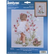 """Girl With Cosmos Counted Cross Stitch Kit, 12""""X16"""" 14 Count"""
