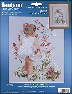 Girl With Cosmos Counted Cross Stitch Kit, 12