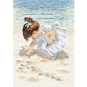 """Collecting Shells Counted Cross Stitch Kit, 12""""X16"""" 14 Count"""