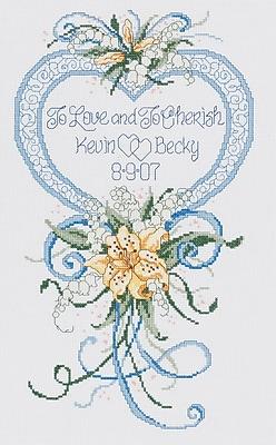 Cherish Wedding Heart Counted Cross Stitch Kit, 9