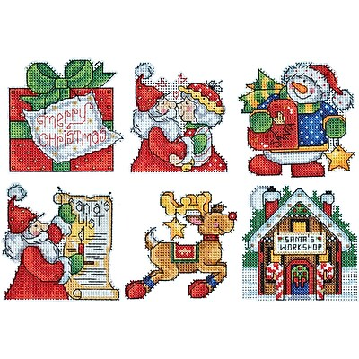 Santa's Workshop Ornaments Counted Cross Stitch Kit, 3