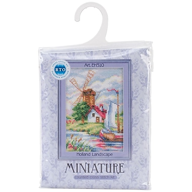 Tulip Time Windmill Counted Cross Stitch Kit, 3-1/2