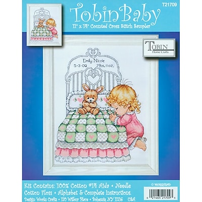 """""Bedtime Prayer Girl Birth Record Counted Cross Stitch Kit, 11""""""""X14"""""""" 14 Count"""""" 32377"