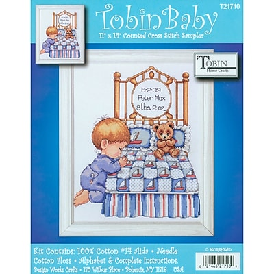 Bedtime Prayer Boy Birth Record Counted Cross Stitch Kit, 11