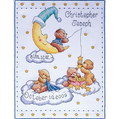 Bears In Clouds Birth Record Counted Cross Stitch Kit, 11