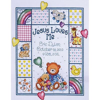Jesus Loves Me Sampler Counted Cross Stitch Kit, 11