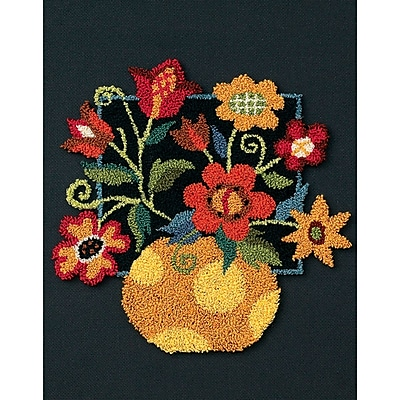 Floral On Black Punch Needle Kit, 8