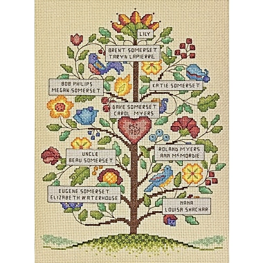 Vintage Family Tree Counted Cross Stitch Kit, 9