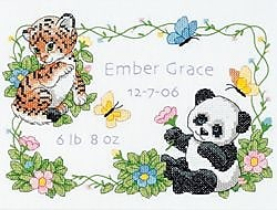 Baby Hugs Baby Animals Birth Record Stamped Cross Stitch Kit, 12