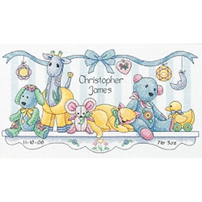 Baby Hugs Baby's Friends Birth Record Counted Cross Stitch Kit, 14
