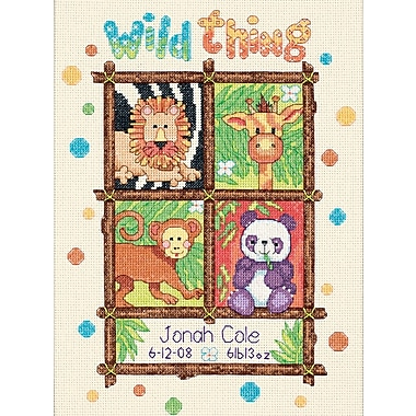 Baby Hugs Wild Thing Birth Record Counted Cross Stitch Kit, 9