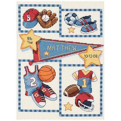 """""""""""Baby Hugs Little Sports Birth Record Counted Cross Stitch Kit, 12""""""""""""""""X9"""""""""""""""" 14 Count"""""""""""" 32775"""